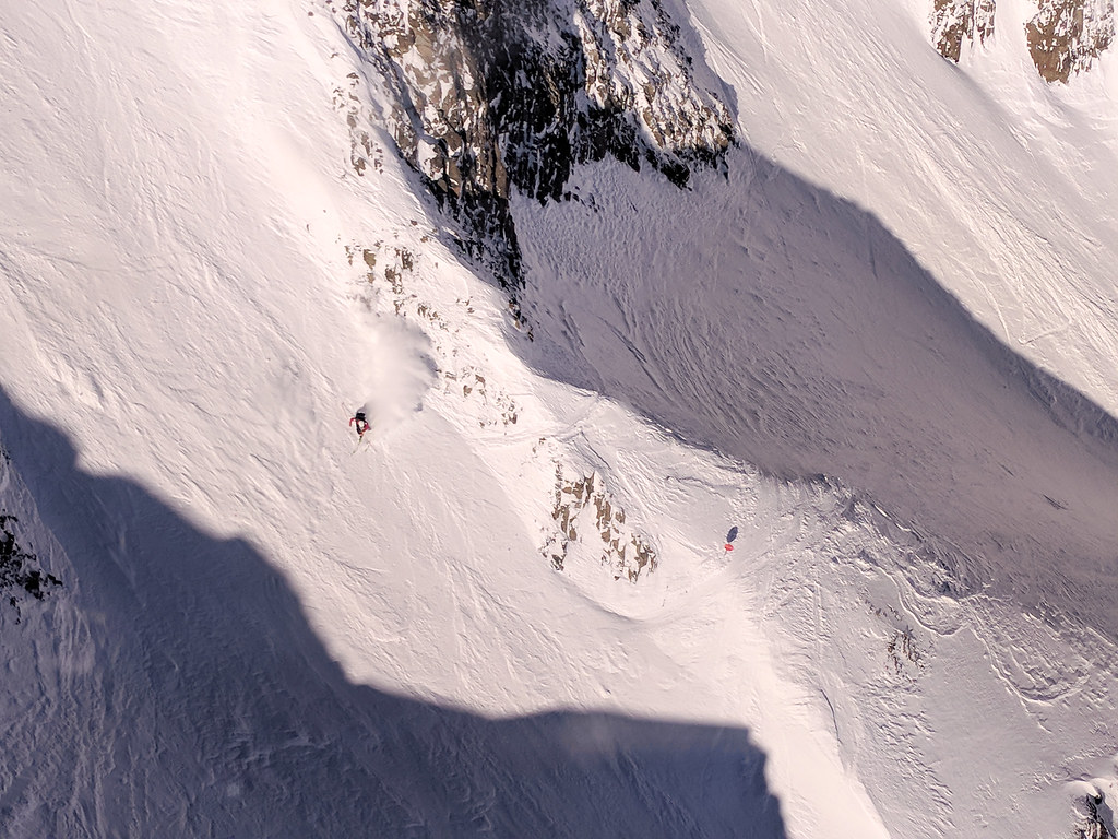 Big Sky ski patroller going down the Big Couloir