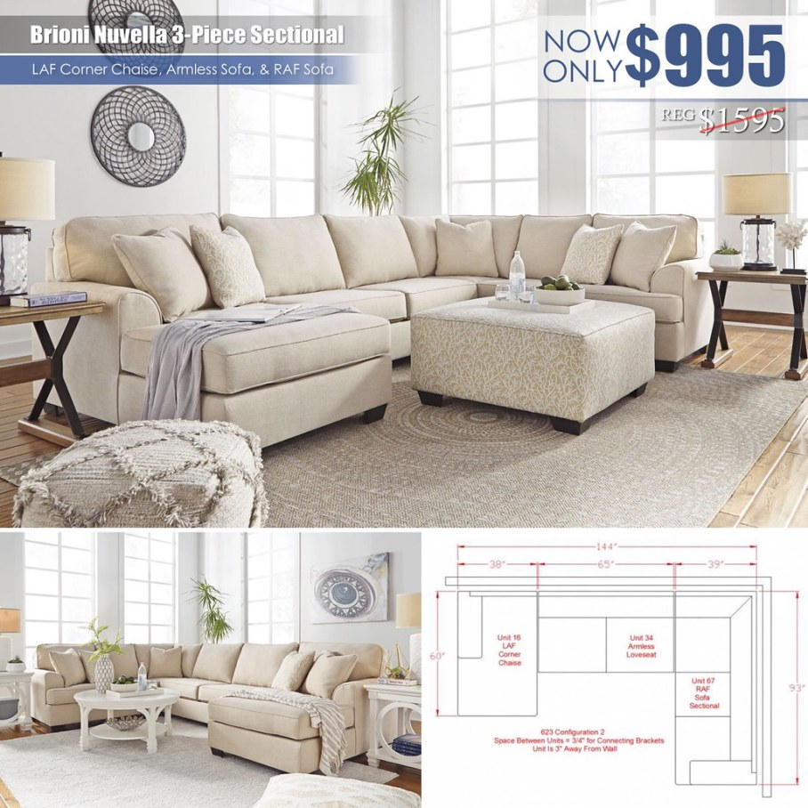 Bruins Nuvella 3PC Sectional_Special