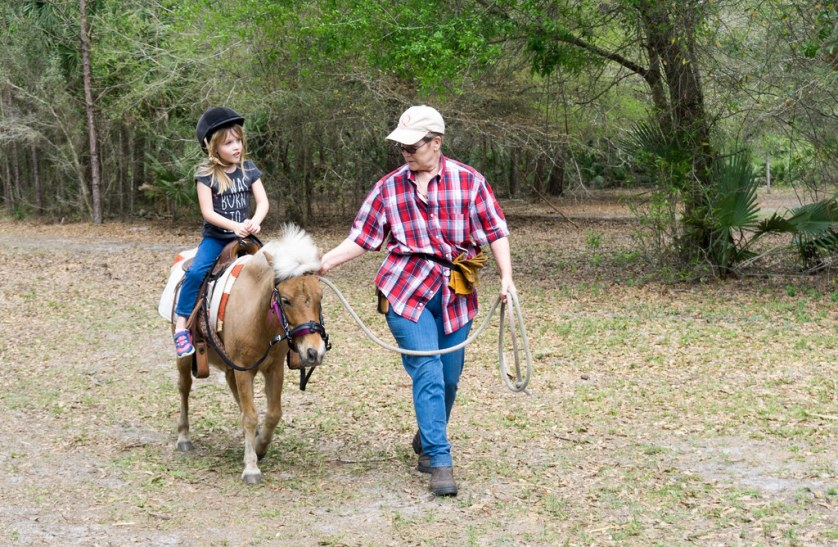 Pony Rides are Available for Kids at Horsing Around Ranch in Lake Suzy, Fla.