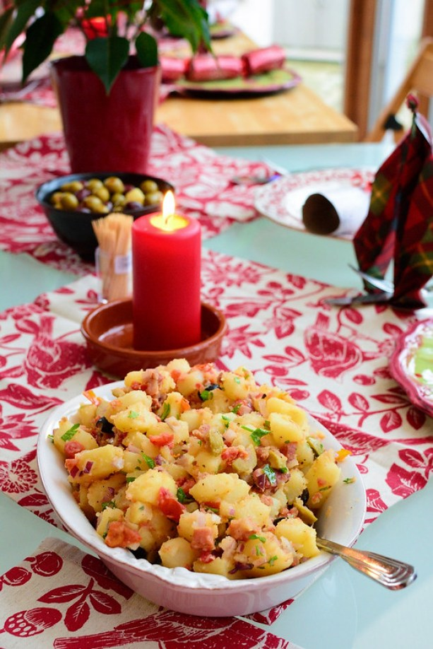 Potato Salad with olives, sunblush tomatoes and bacon