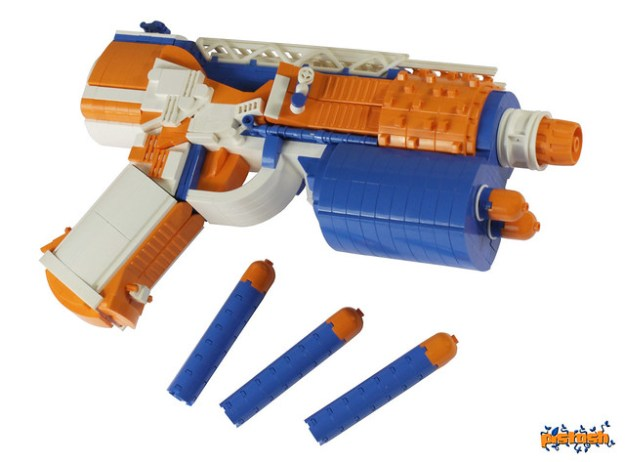 ... use of a ladder at the top, white rubber bands to suggest depth to the  front dart holsters, and orange brick separators to texture the pistol  grip. Nerf