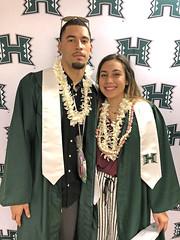 UH Manoa football graduate David Manoa and women's volleyball graduate Tayler Higgins.