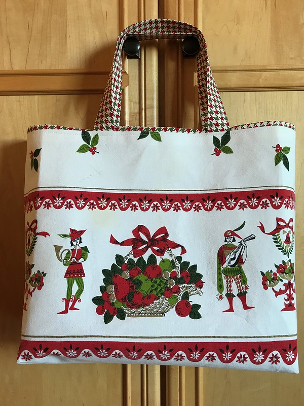 Christmas gift bag from vintage tablecloth