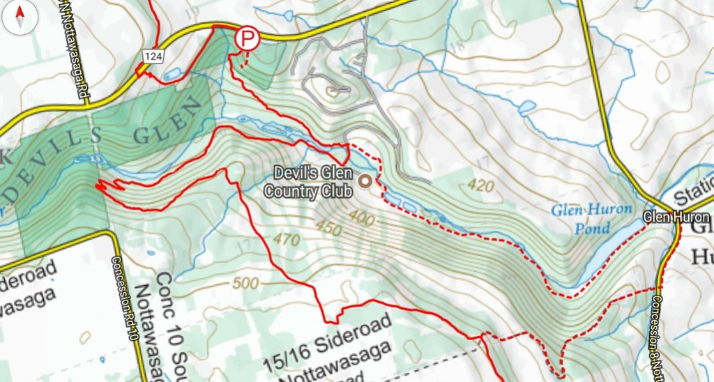 Devils Glen Provincial Park Bruce Trail Mad River Side Trail map