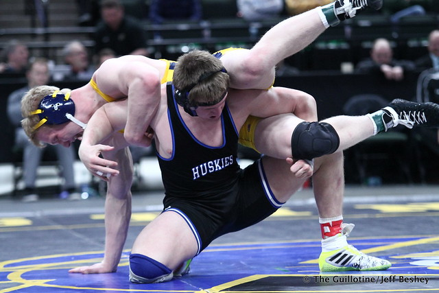 1st Place Match - Cade King (Owatonna) 44-0 won by decision over Calvin Sund (Prior Lake) 24-4 (Dec 6-4). 180303CJF0690