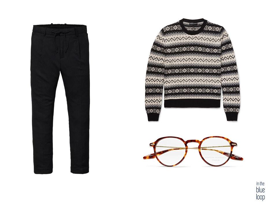 Look casual para hombre con chinos y jersey de invierno con gafas