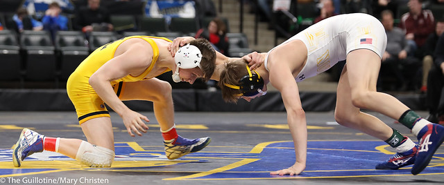 1st Place Match - Mitchel Petersen (Byron) 42-2 won by decision over Jake Svihel (Totino-Grace) 55-2 (Dec 8-7). 180303CMC6342