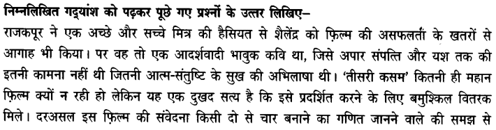 Chapter Wise Important Questions CBSE Class 10 Hindi B - तीसरी कसम के शिल्पकार शैलेंद्र 4