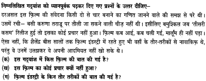 Chapter Wise Important Questions CBSE Class 10 Hindi B - तीसरी कसम के शिल्पकार शैलेंद्र 21
