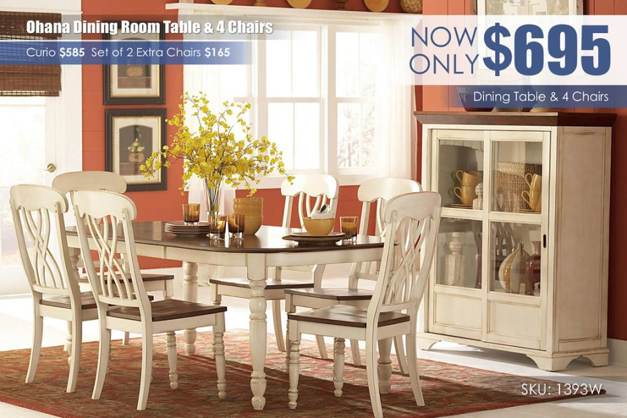 Ohana White Dining Room Set_1393W