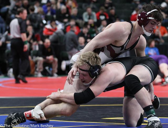 182A Quarterfinal - Holt Truax (Bertha-Hewitt-Verndale-Parkers Prairie) 43-1 won by fall over Nate Meixner (Medford) 27-9 (Fall 3:46) - 180302cmk0045