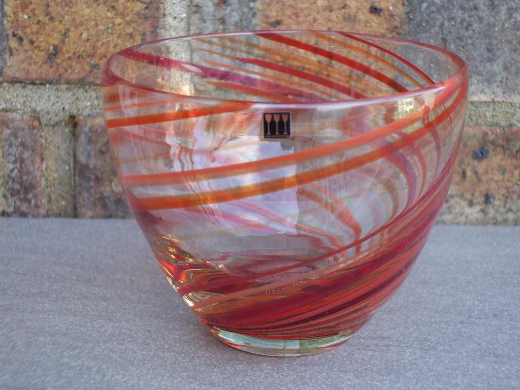 Vintage Signed Scandinavian Red Swirl  Art Glass Bowl