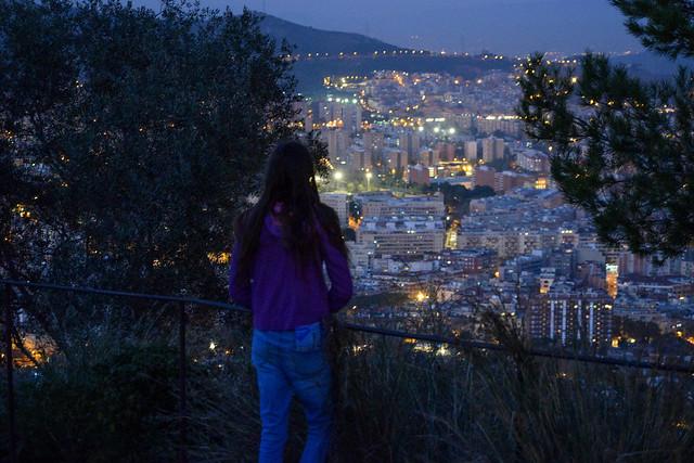Falling Night in Barcelona Spain