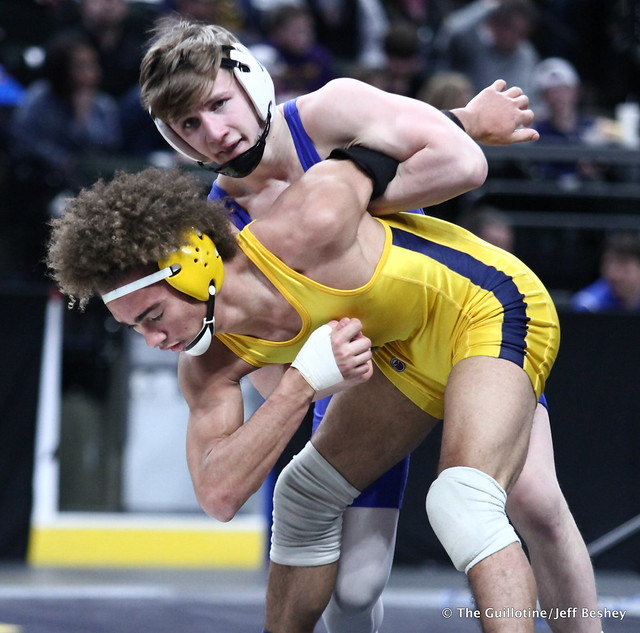1st Place Match - Patrick McKee (St Michael-Albertville) 52-0 won by injury default over Zach Smith (Prior Lake) 12-3 (Inj. 3:20). 180303CJF0170
