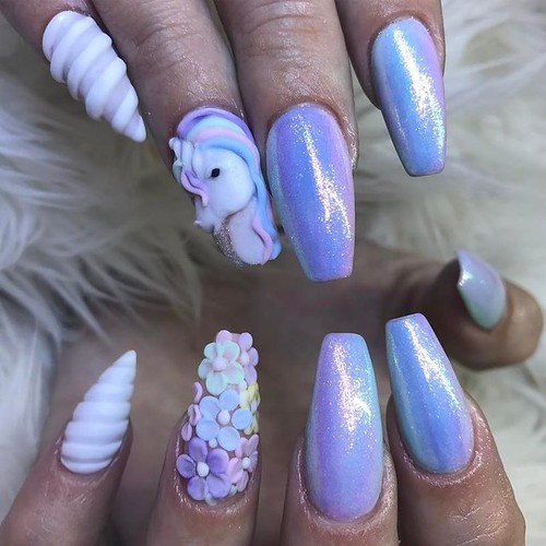 Uñas Decoradas de Unicornios