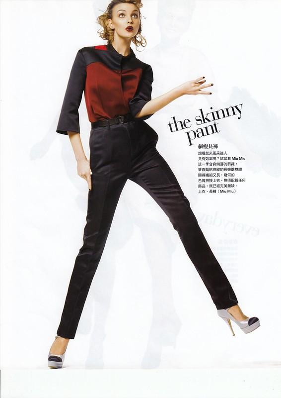"""スキニー・パンツ the skinny pant:""""Smart Moves"""", Vogue Taiwan, No125, Feb, 2007. Photographed by Steven Meisel, Fashion editor Grace Coddington, Hair Julien d'Ys, Makeup Pat McGrath for Max Factor"""