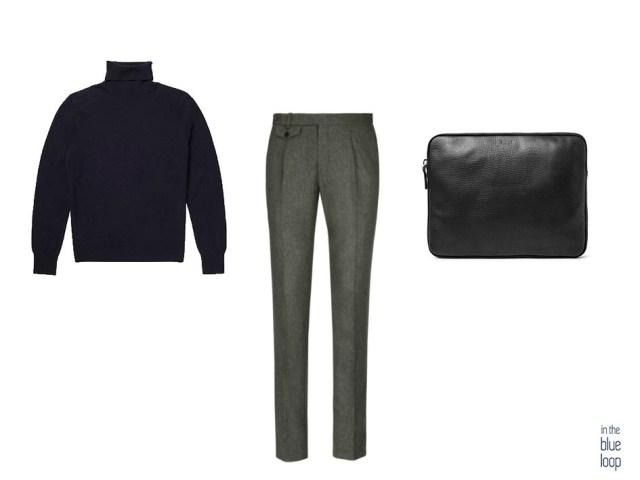 Smart-casual masculino con jersey de cuello vuelto, pantalones de vestir para hombre y maletín