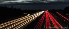 Lichtspuren die A 40 Ausfahrt Moers
