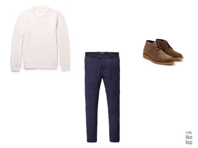 Look masculino smart-casual con jersey de punto, chinos y botas