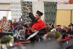 A proud and happy graduate celebrates at the campus' commencement ceremony on December 16, 2017.  Photo by Everette Ganir