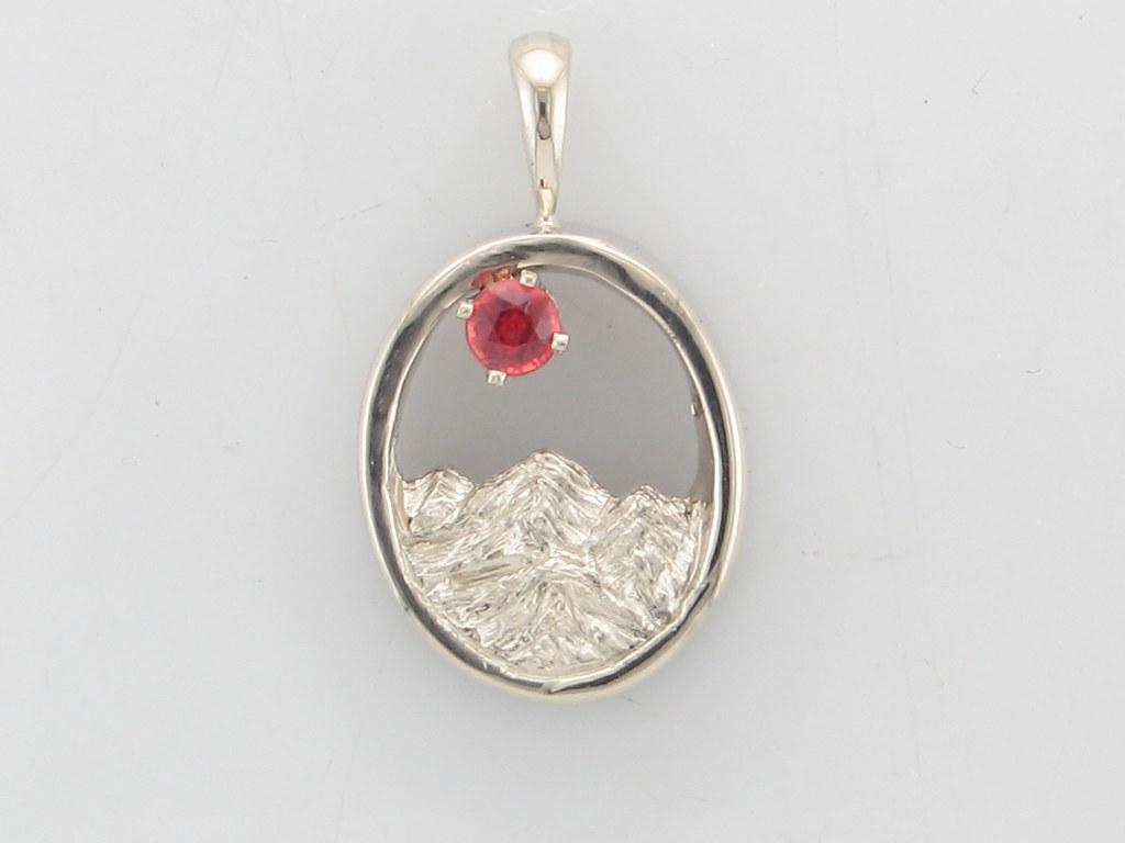 The rocky mountain collection purple mountain jewelry the rockies 14kw 32mm red orange sapphire pendant aloadofball Gallery