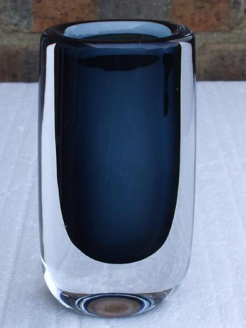 Vintage 1960's Mid Century Modern Orrefors Smoky Blue Cased Art Glass Vase