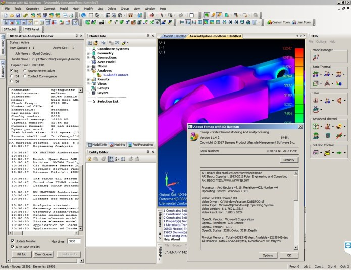 Working with Siemens FEMAP v11.4.2 with NX Nastran full license