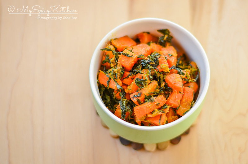 A bowl of gajar methi subzi or carrot fenugreek stir fry
