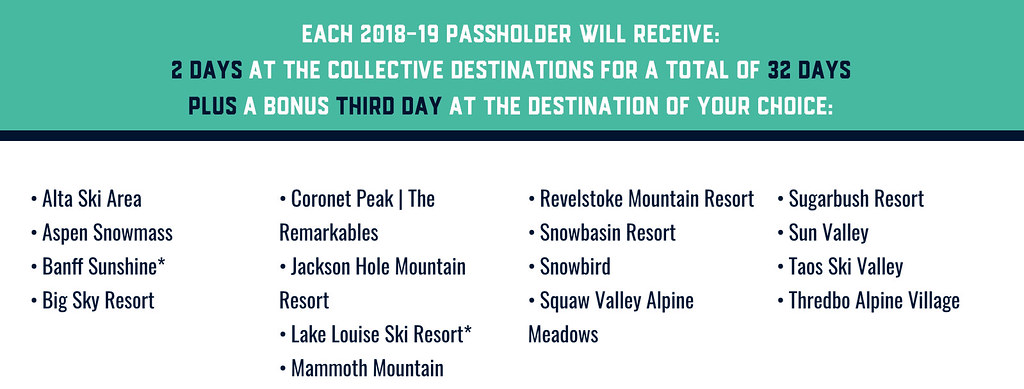Mountain Collective ski pass for '18/'19 season
