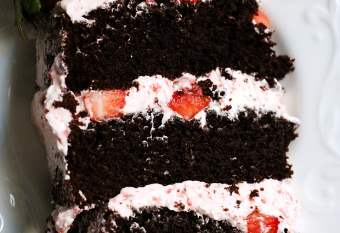 Dark Chocolate Covered Strawberry Layer Cake Joanne Eats Well With