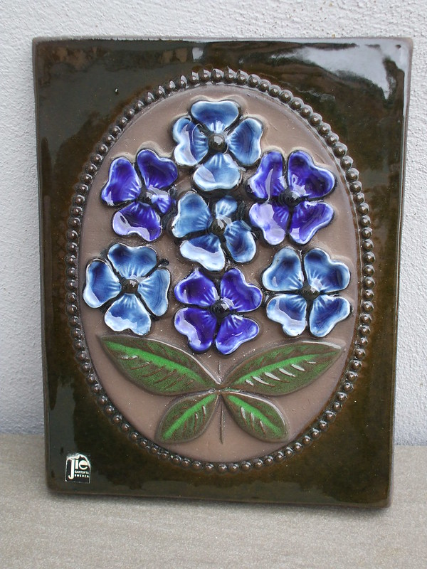 Vintage Jie Gantofta Ceramic Floral Wall Plaque Made in Sweden