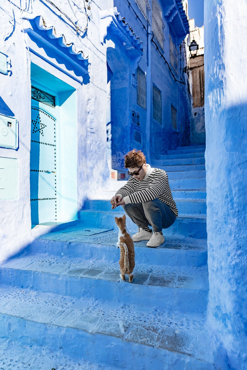 chefchaouen with cat LiLY