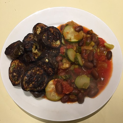 Borlotti bean and vegetable casserole with grilled Lebanese eggplant
