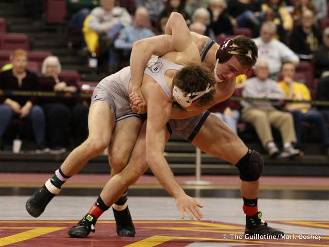 149 No. 15 Steve Bleise (14-4) (Minnesota) dec. Eric Barone (6-8) (Illinois) 4-1. 180114AMK0128