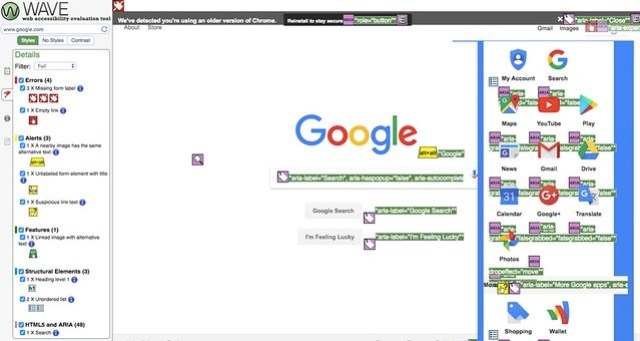 What Google looks like in WebAim