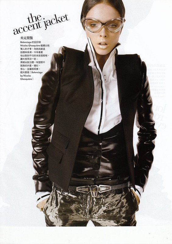 "the accent jacket:""Smart Moves"", Vogue Taiwan, No125, Feb, 2007. Photographed by Steven Meisel, Fashion editor Grace Coddington, Hair Julien d'Ys, Makeup Pat McGrath for Max Factor"