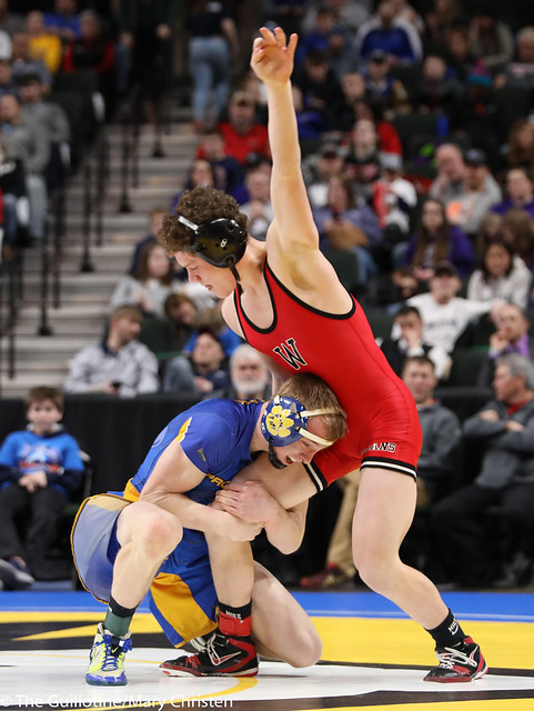 3rd Place Match - Jacob Prunty (Worthington) 38-3 won by decision over Cade Lundeen (Thief River Falls) 42-7 (Dec 6-2). 180303BMC5781