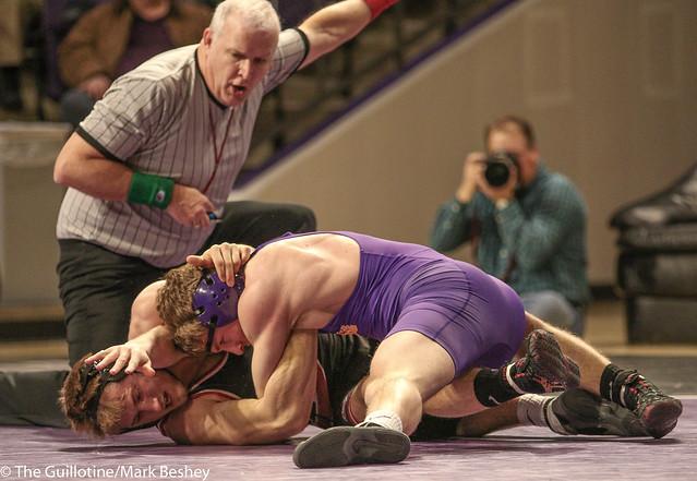 149: #1 James Pleski (SCS) Dec. over #11 Kyle Rathman (MSU) 3-1   SCS 6-0 MSU - 180203amk0018
