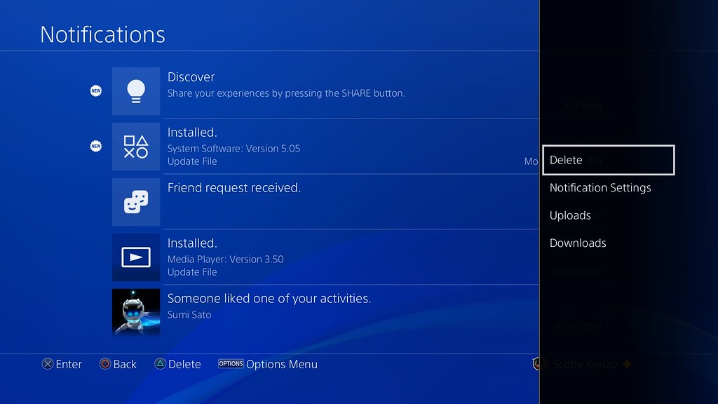 PS4 System Software Update 5.50: Notifications