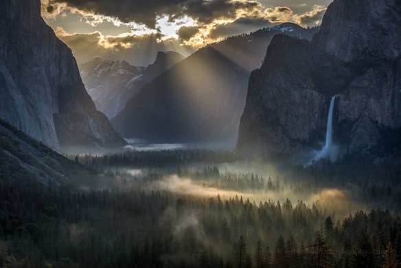 Sun Rays on Yosemite Valley Morning Fog (color)