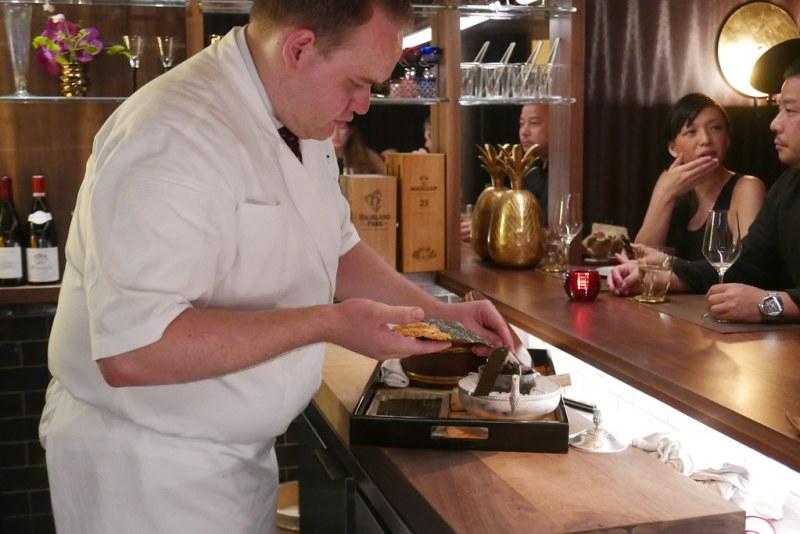 Sam Clonts making the Siberian Sturgeon Caviar Handroll