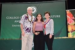 "CTAHR graduate student marshal Megan Manley with Dean Nicholas Comerford and Associate Dean Ania Wieczorek at the college's convocation ceremony on December 8.  View more photos at CTAHR's Flickr site: <a href=""https://www.flickr.com/photos/ctahr/sets/72157690935002195/with/27241438299/"">www.flickr.com/photos/ctahr/sets/72157690935002195/with/2...</a>"