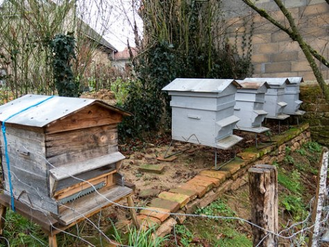 Beehives in a village in the Creuse