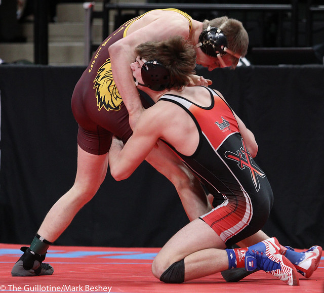 160A Quarterfinal - Kaden Spindler (West Central Area-Ashby-Brandon-Evansville) 44-4 won by major decision over Jackson Held (Royalton-Upsala) 43-6 (MD 14-6) - 180302cmk0039