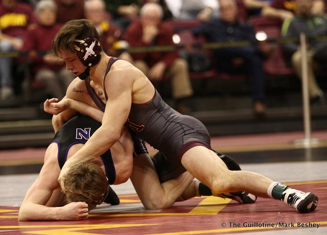 133: No. 12 Mitch McKee (Minnesota) dec. No. 20 Colin Valdiviez (Northwestern) 10-7. 180128AMK0187