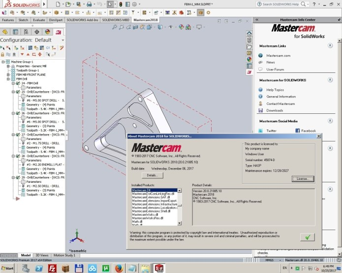 Programming with Mastercam 2018 Update3 only (v20.0.21855.10) for SolidWorks full