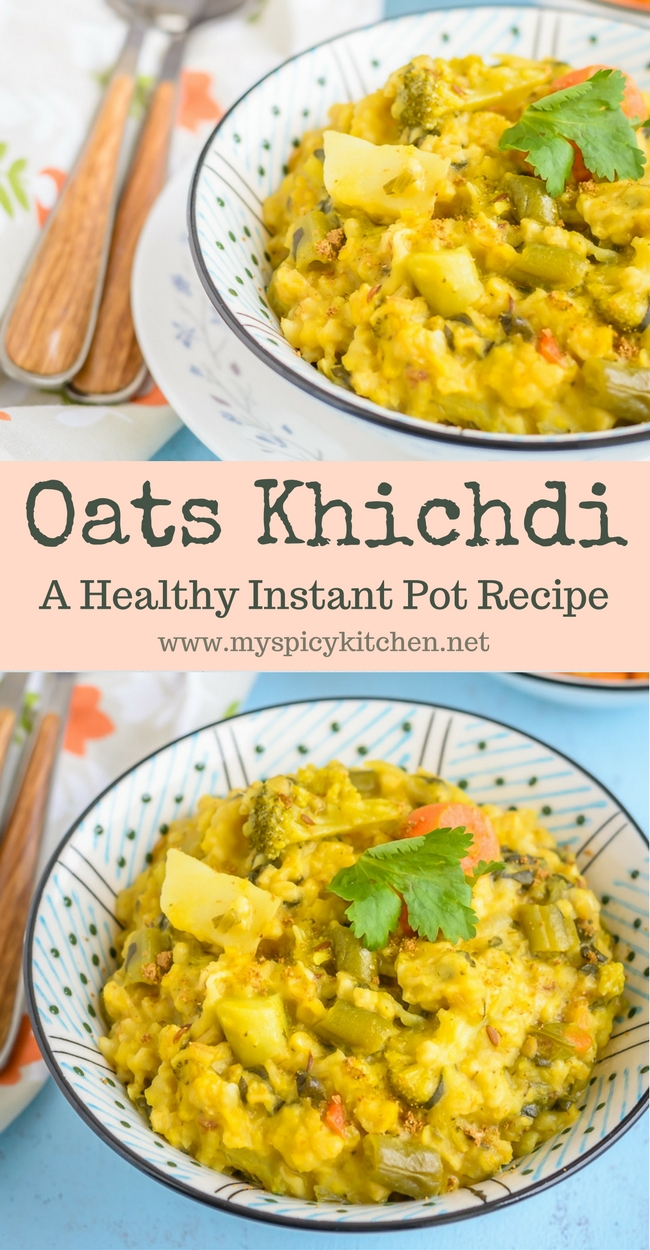 Bowl of Instant Pot Oats Lentils Porridge or khichdi
