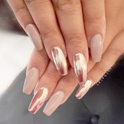 beautiful long acrylic chrome nails