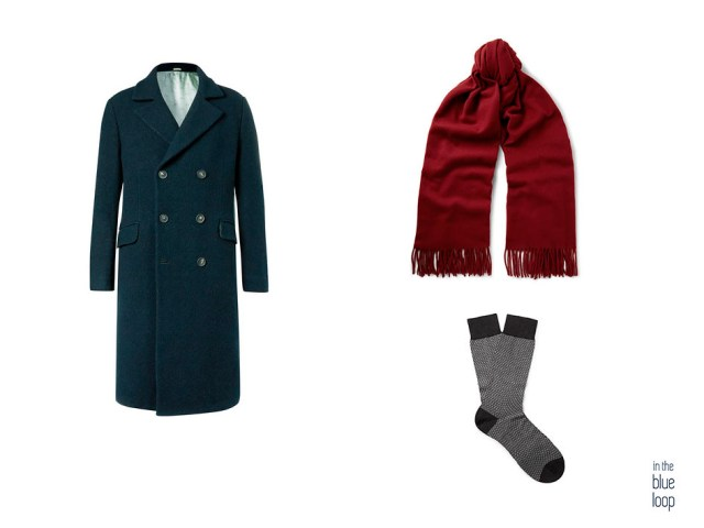 Abrigo masculino con bufanda y calcetines