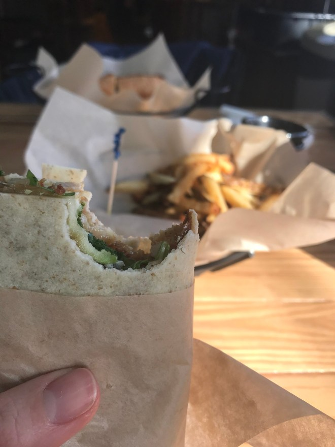 The Green Mountain Wrap (turkey bacon arugula and herbed mayo on a gf wrap!) and fries